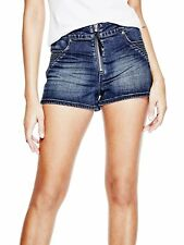 GUESS Shorts Women's High Rise Moto Zip Stretch Denim Shorty Shorts 25 Blue NWT