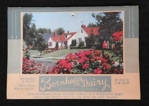 "1961 ""BORNHOFF'S DAIRY"" SMALL WALL CALENDAR GLENVIEW IL ILLINOIS VERY NICE SHAPE"
