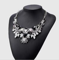 Fashion Women Jewelry Bib Crystal Statement Pendant Chain Choker Collar Necklace