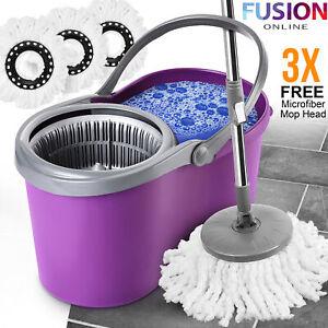 360° Spin Mop Bucket Set Wringer 3 Microfibre Mop Head Spinning Floor Cleaning