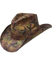Peter Grimm Ltd Men's Scout Camo Print Straw Cowboy Hat Green One Size