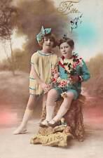 Bonne Fete Children Enfants boy girl flowers roses couple