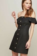 Miss Selfridge  Black Button Bardot Dress Uk 6 Rrp£28