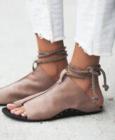 Womens Flat Chic Gladiator Open Toe Sandals Roman Retro Open Toe Shoes Retro