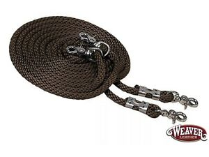 """Draw Reins 1/2"""" X 16'  Brown Poly Rope with Nickel Snaps by Weaver"""