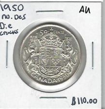 Canada 1950 50 Cents No Design AU Die Cracks