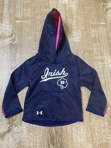 Notre Dame Under Armour Toddler Girl Sweatshirt Sweater Hoodie Blue Pink 2T EUC