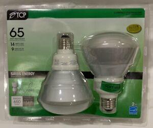 TCP 6R30142 14W BR30 CFL 2700K E26 Reflector Flood Light Bulb 65W Equal 2-Pack
