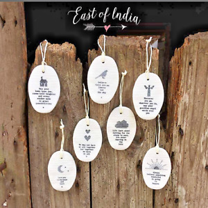 East of India Porcelain Oval Hangers with Inspirational Message Xmas Gift Decor
