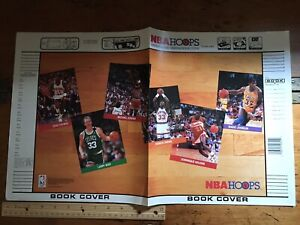 1990 NBA Hoops School Book Cover w/ Jordan, Bird, Ewing, Johnson etc & Pin Offer