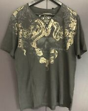 Buffalo David Bitton Mens T-shirt Nyacimo SZ:L V-Neck Black Gold Foil Skull NEW