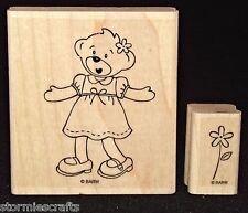 Stampin Up Beary Best Friends Stamp Single Little Girl Bear Dress & Shoes Flower