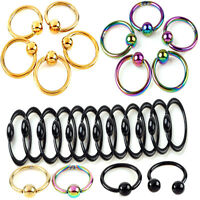 2X Fashion Nose Ring Lip Ear Nose Clip On Ball Piercing Nose Lip Hoop Earring TR