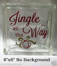 """Jingle all the Way style 3 Christmas Decal Sticker for 8"""" Glass Block DIY Crafts"""