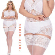 LUXURY White Thigh High Bridal Wide Lace Top Stockings Hold Ups - Sheer 20 den