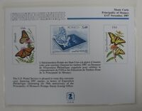 souvenir card PS 66 Monte Carlo 1987 1987 22ï¾¢ Butterfly stamp