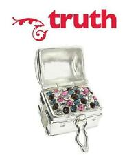 Genuine TRUTH PK 925 sterling silver sparkle treasure chest charm bead, RRP £65