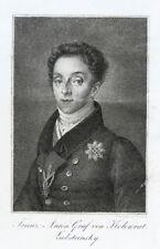 c1830 Kolowrat-Liebsteinsky Franz Anton von Kupferstich-Porträt Krepp
