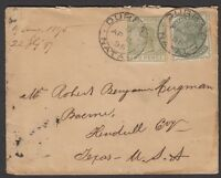 South Africa - Natal 1895 small cover sent to Texas, USA, QVic stamps