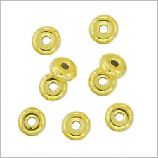20 Gold Plated Sterling Silver Heishi Rondelle Spacer Beads 3.5mm #97183
