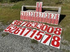 """34 Metal Gas Station Numbers 18 Large 17 3/4"""" x 9 5/8"""" & 16 Tenths  17 3/4"""" x 5"""""""