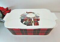 Grace Pantry Christmas Santa Lidded Baker Casserole Dish Oven Safe 3 in 1 Plaid