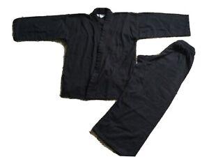 Martial Arts Uniform GI Karate Taekwondo MMA Black Youth Size 2 Lot Set