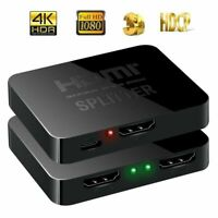HDMI 1 in 2 out 1080p 4K 1x2 HDCP Stripper 3D Splitter Power Signal Amplifier US