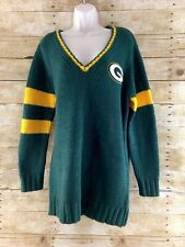 Green Bay Packets Sweater Tunic Womens XL Thick Knit V-neck NFL Football G-III