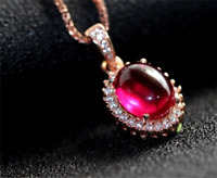 Top quality Oval Pigeon Blood Red ruby pendant sterling silver necklace 10x12mm