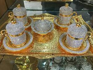Handmade Turkish Coffee Espresso Serving Set Swarovski Crystal Coated Copper Cup