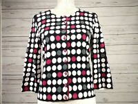 Hobbs Cropped Polka Dot Cardigan Vintage Inspired Cotton Silk Blend Size 12