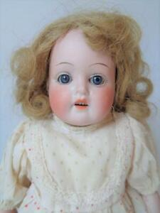 """Antique P. Sch. Germany 12"""" Bisque Head Doll Kid Leather Body Petite Cabinet Sz"""
