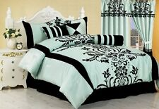 Comforter King Size Set 7 Pieces Teal Aqua Pillow Bed In A Bag 300TC Modern NEW