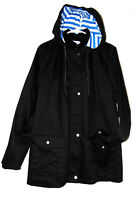 Denim & Co Water Resistant Raincoat Polyester cotton Blend Coat Black Parka sz M