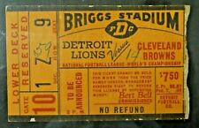 1953 Detroit Lions Cleveland Browns NFL Championship Football Game Ticket Stub