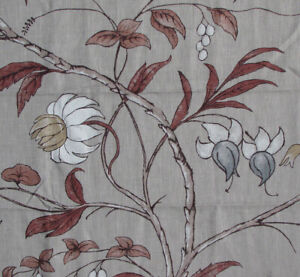 "2.1 meters x ZOFFANY ""Chambalon Trail"" 100% LINEN fabric Birds/trees"