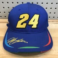 Vintage 90's Jeff Gordon Signature 24 NASCAR Licensed Blue Snap Back Hat Cap