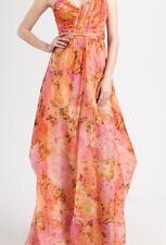 Badgley Mischka Orange Silk Floral Gown