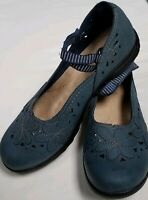 Earth Spirit Blue Floral Mary Jane Faux Leather Flats Women's 9.5 CASUAL ACTIVE