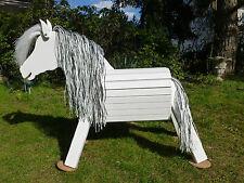 60cm Holzpferd wetterfest Holzpony Voltigierpferd Spielpferd Pferd  Schimmel NEU