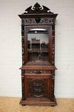 1111015 : Antique French Renaissance Hunt Narrow Single Door Bookcase Cabinet