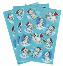 3 Sheets Adorable POLAR BEAR Christmas Hat Stickers!