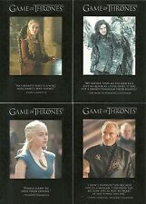2014 Game of Thrones Season 3 Quotable Game of Thrones 9 Card Subset  Q 21 - 29