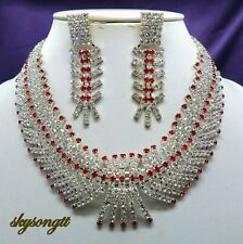 Austrian Ruby Red Crystal Rhinestone Bridal Party Necklace Earrings Set S1549R