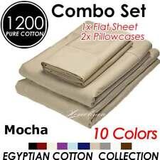 1200TC EGYPTIAN COTTON PILLOWCASE & FLAT SHEET 3PC MOCHA KING SIZE BED SET