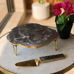 Resin Cake Stand Holder, Grey Resin Cake Stand with Server, resin platter, gifts