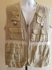 Bugle Boy Canvas Sporting Fly Fishing Nature Outdoorsman Safari Vest Mens XL