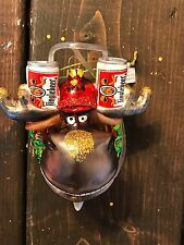 New Glass Blown Christmas Tree Ornament Moose Beer Funky Drunk  Holiday Decor