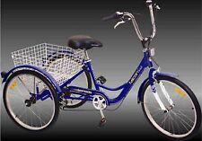 "NEW 3-Wheel Adult 24"" Tricycle 6-Speed Shimano Gears Bike Bicycle ~ Blue Trike"